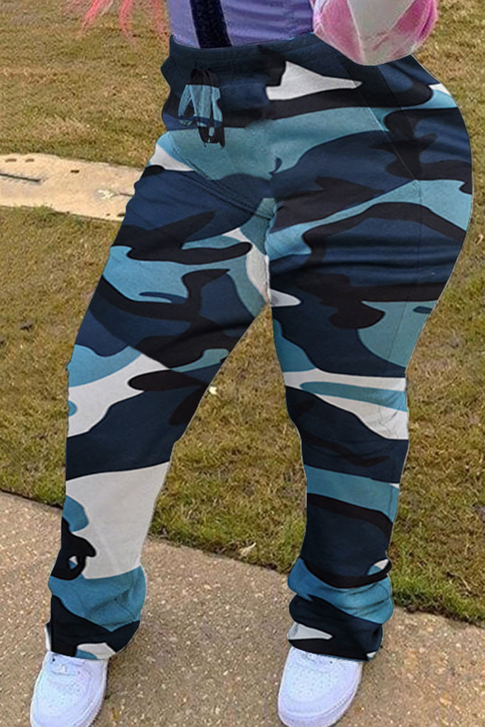 Camouflage Plus Size Wrinkled Casual Pants