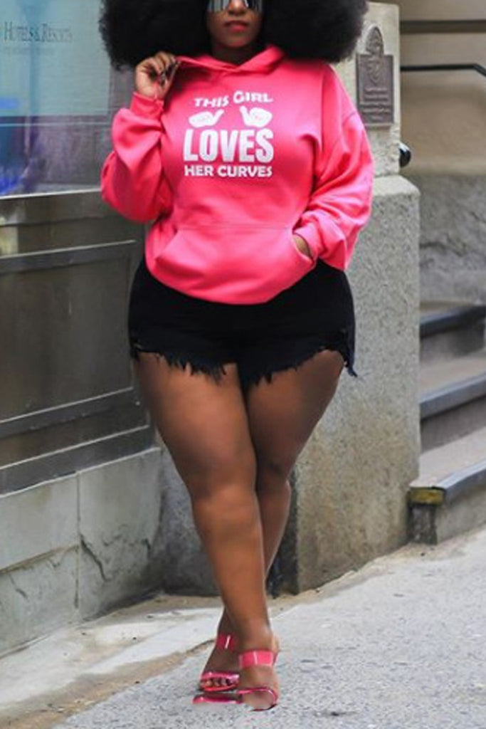 Plus Size Letter Print Long Sleeve Hoodies