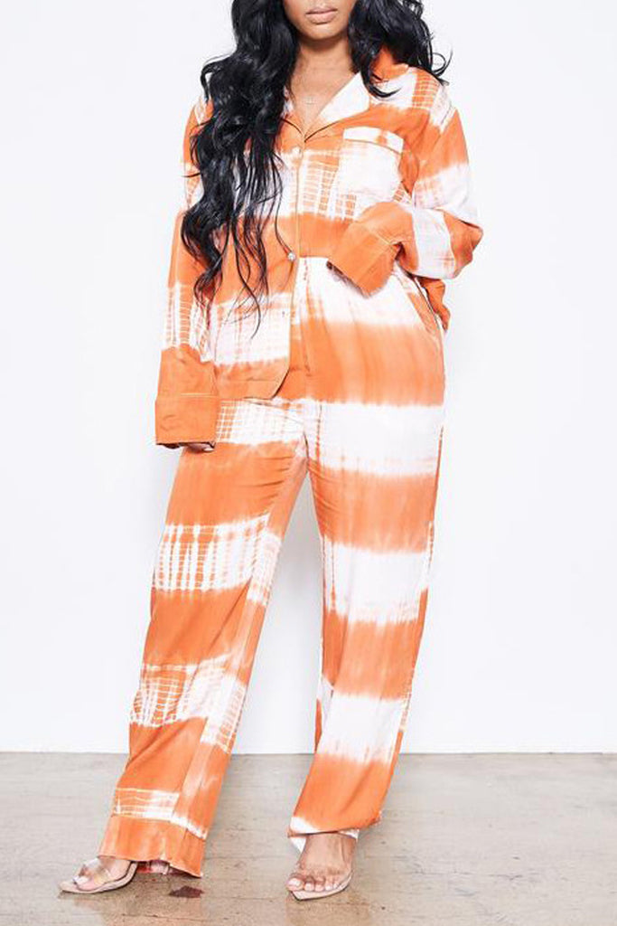 Turndown Collar Tie Dye Loose Top & Pants