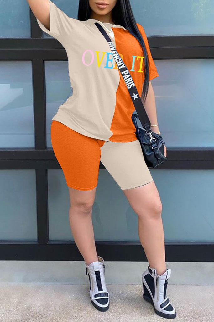 Plus Size Color Block Letter Print Top & Shorts