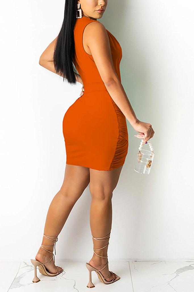 Sleeveless Wrinkled Deep V Neck Mini Dress