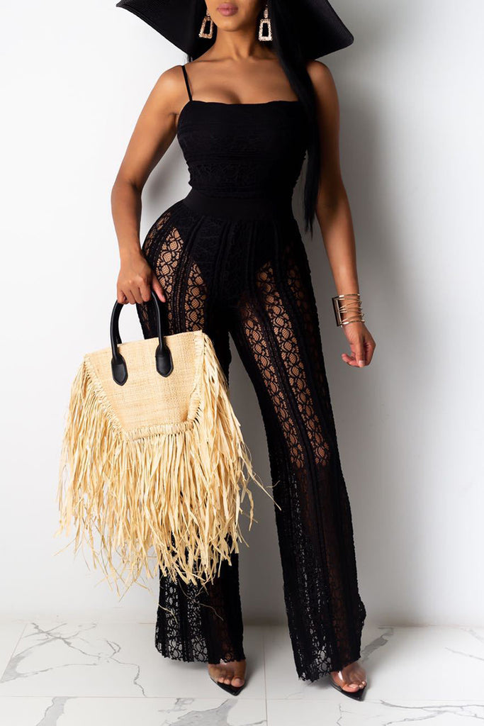 See-Through Net Yarn Wide Leg Jumpsuit