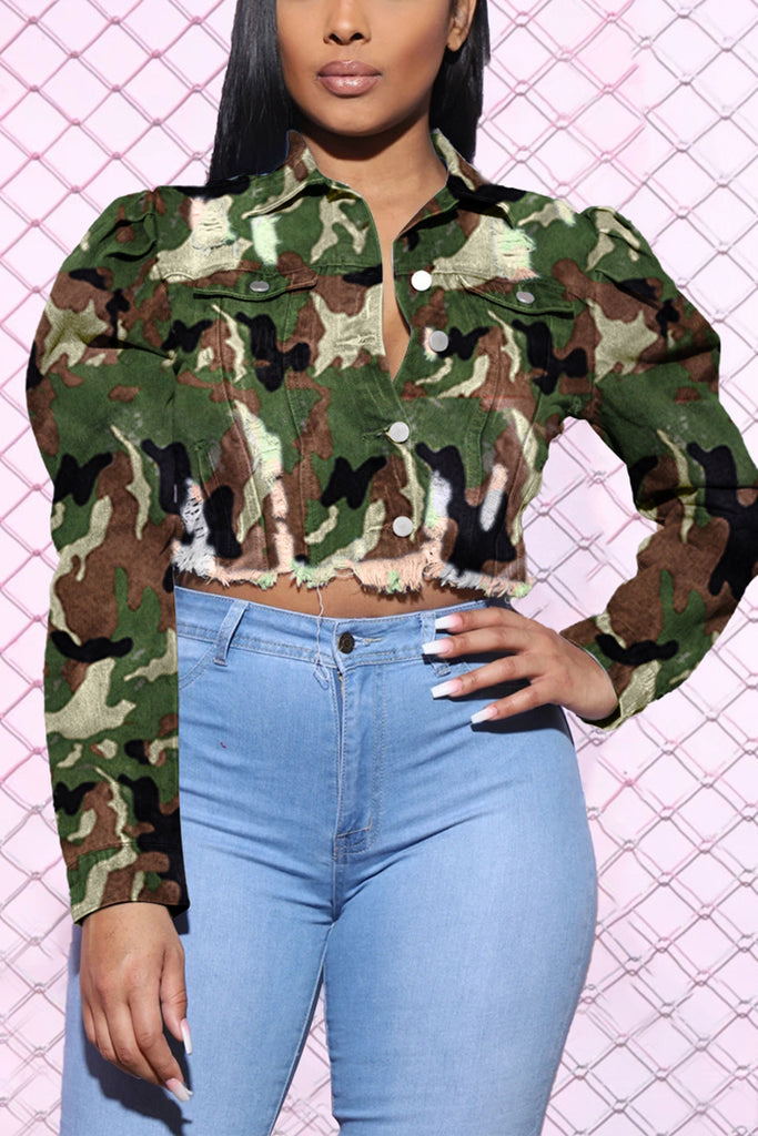 Camouflage Print Denim Puff Sleeve Jacket