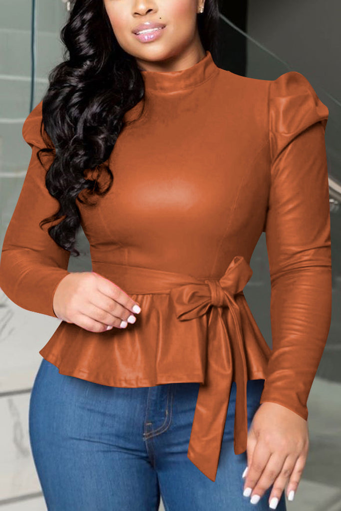 PU Plus Size High Neck Belted Top