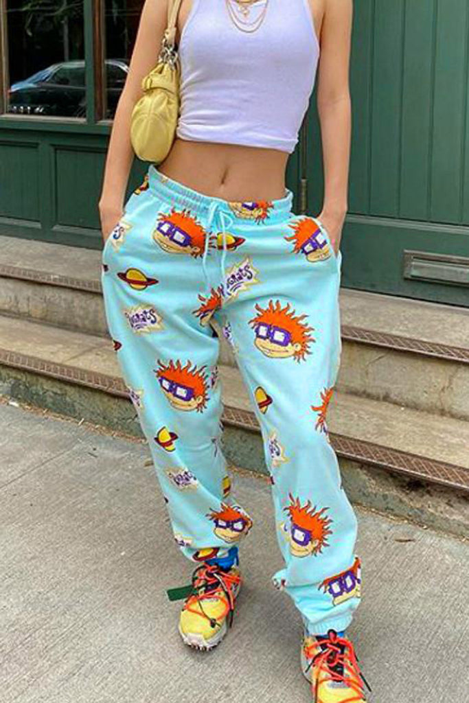 Drawstring Waist Cartoon Pocket Pants