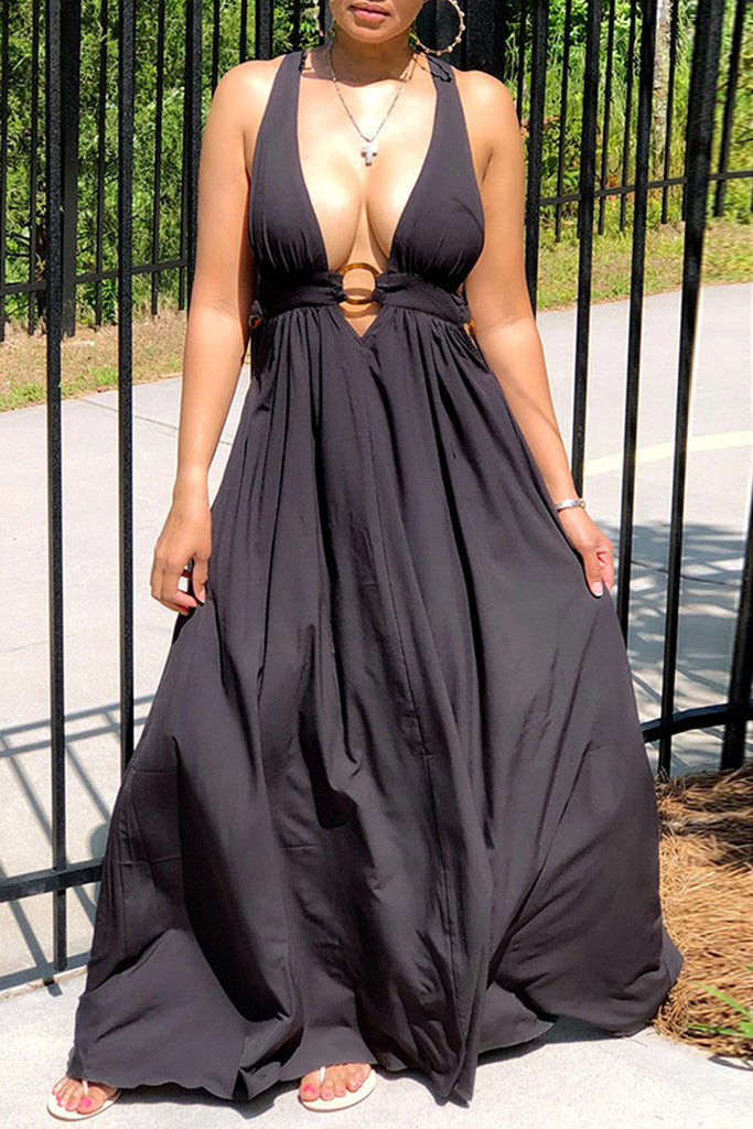 Deep V Neck Back Bandage Maxi Dress