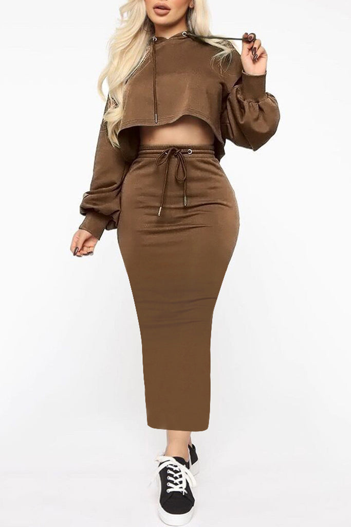 Lantern Sleeve Hooded Solid Color Two Piece Dresses