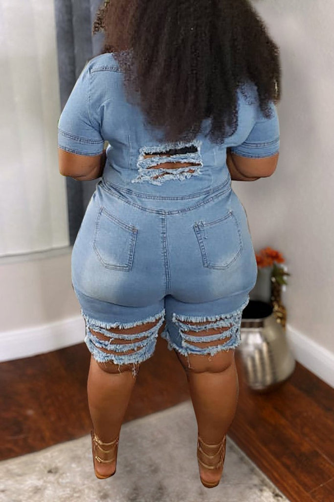 Denim Hole Distressed Solid Color Plus Size Romper