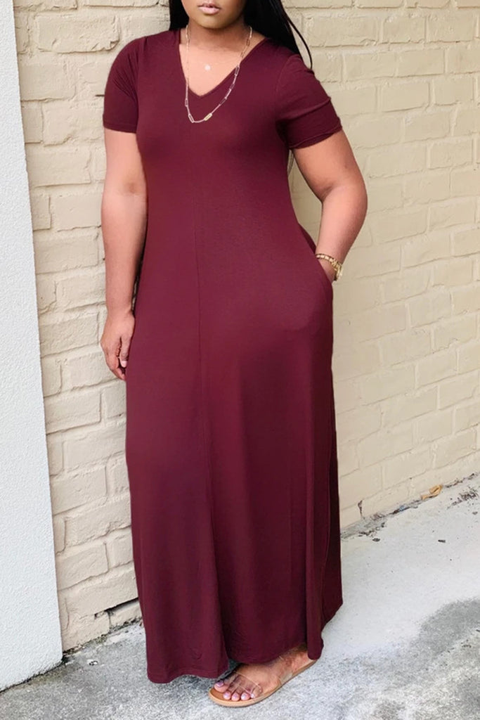 Pocket V-Neck Solid Color Maxi Dress