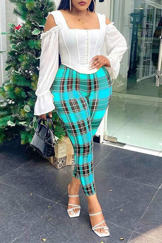 Lattice Print Casual High Waist Pants
