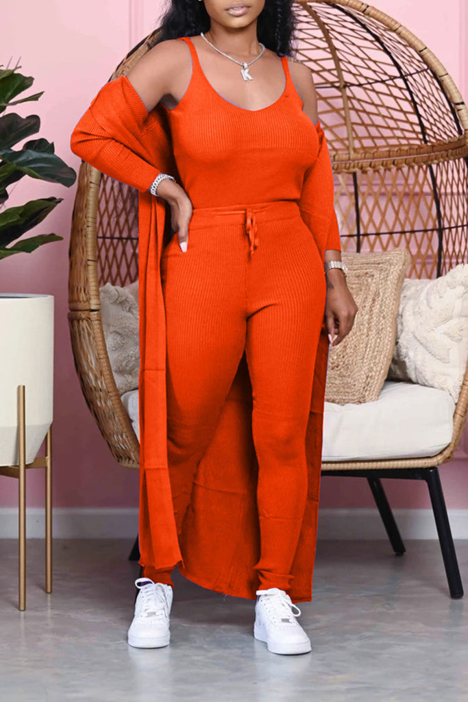 Rib Scoop Neck Solid Color Three Piece Sets