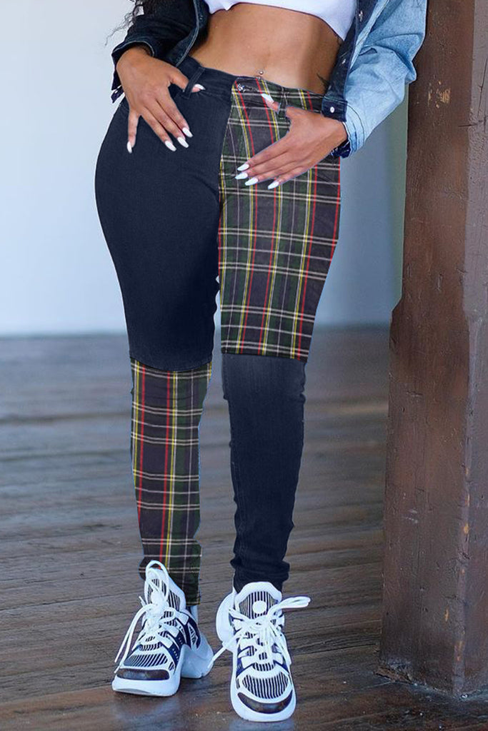 Plaid Print Color Block Pocket Pants