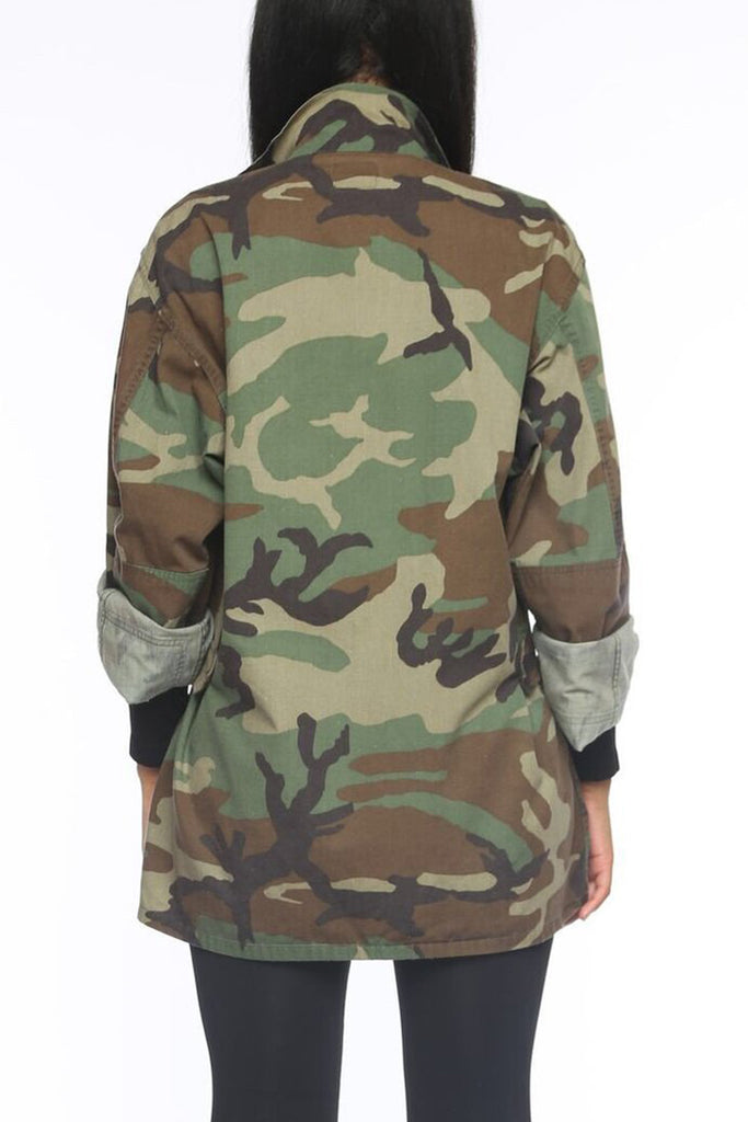 Camouflage Print Plus Size Jacket Without Belt