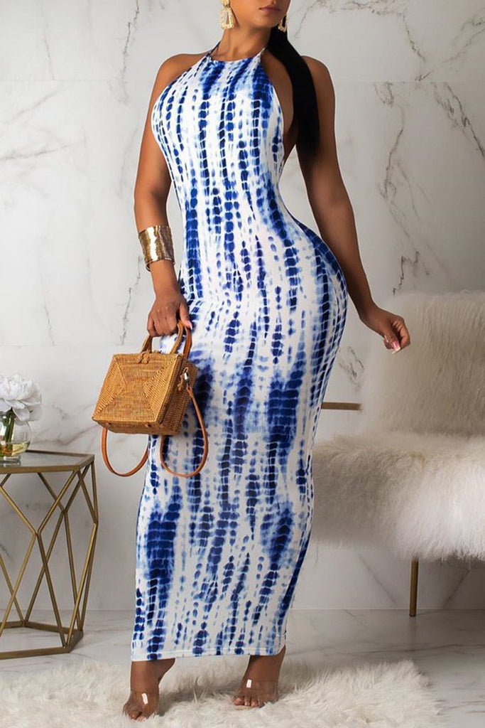 Open Back Tie Dye Sleeveless Maxi Dress