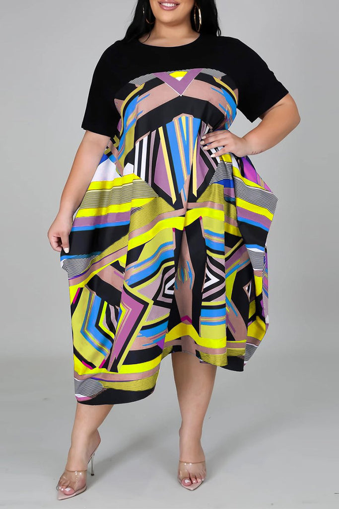 Plus Size Irregular Hem Color Block Dress