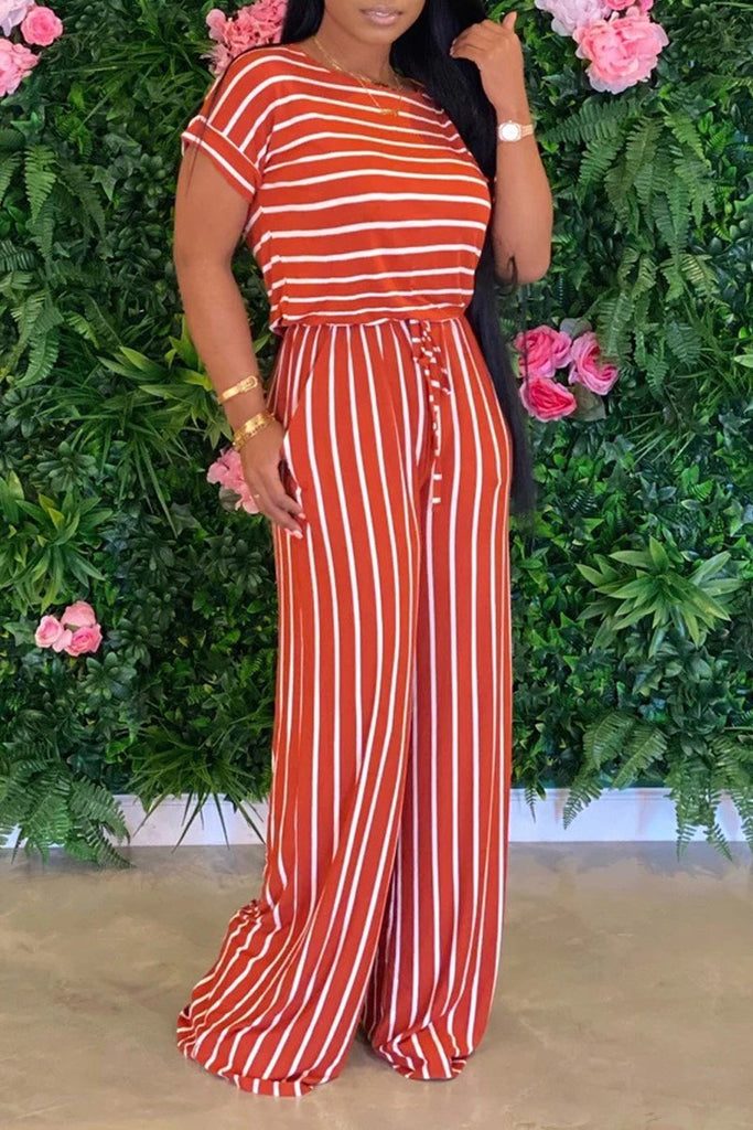 Lace-up Stripe Print Plus Size Jumpsuit