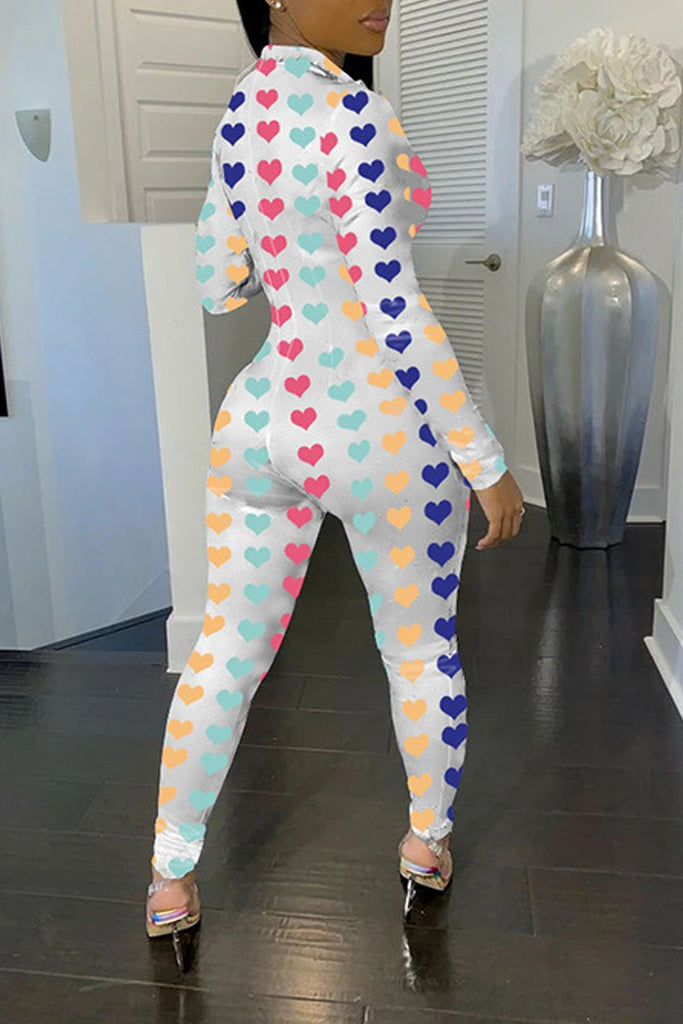 Lip Print Zipper Collar Long Sleeve Jumpsuit