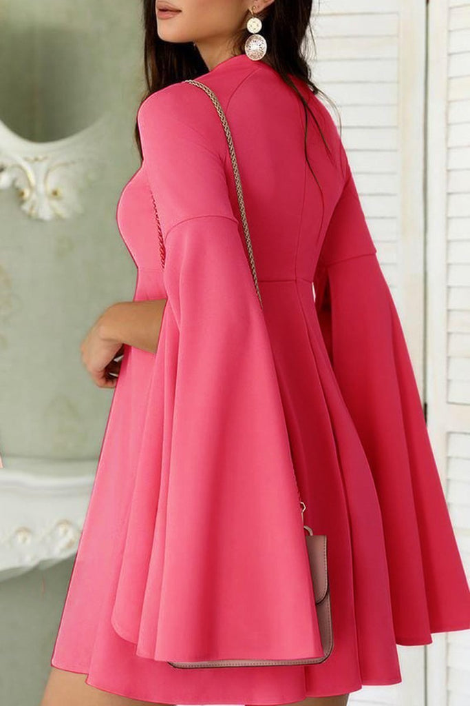 Flared Sleeve Solid Color Mini Pleated Dress