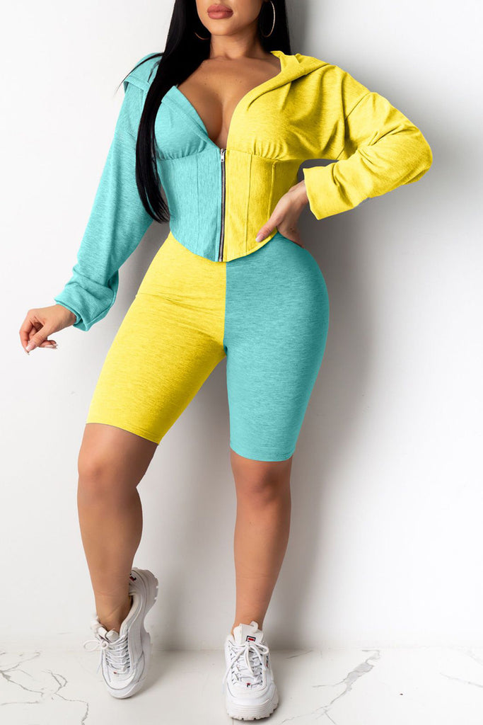 Hooded Collar Color Block Plus Size Top & Shorts