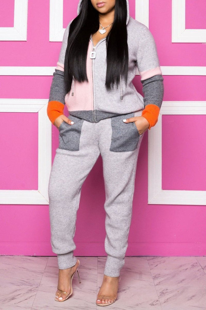 Color Block Hooded Collar Zipper Two Piece Sets