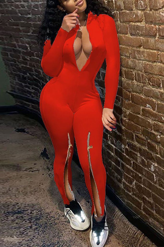 Zipper Collar Long Sleeve Slit Jumpsuit