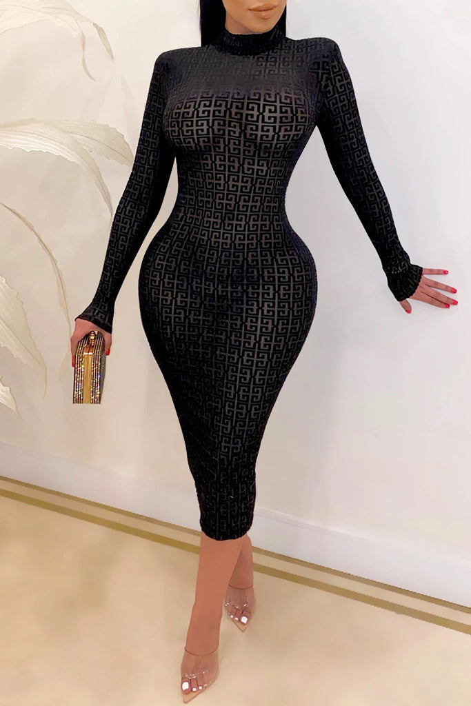 See-through Net Yarn Long Sleeve Midi Dress