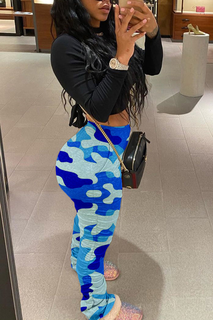 Plus Size Colorful Camouflage Wrinkled Pants