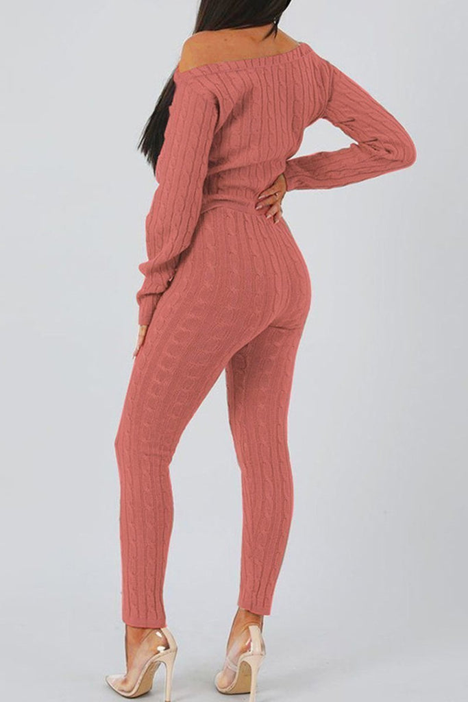 Solid Color Casual Long Sleeve Sweater Two Piece Outfits