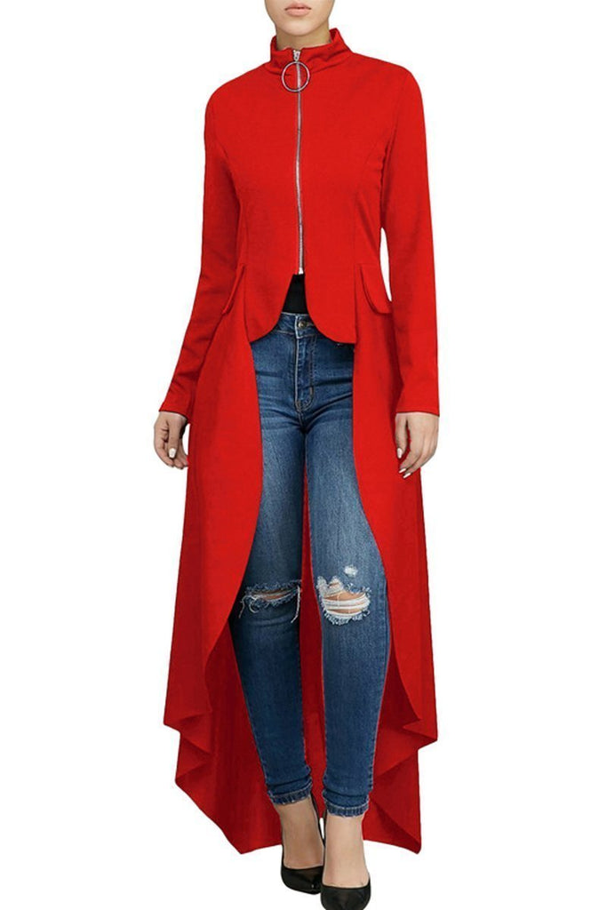 Solid Color Thicken Asymmetric Hem Long Sleeve Zipper Top