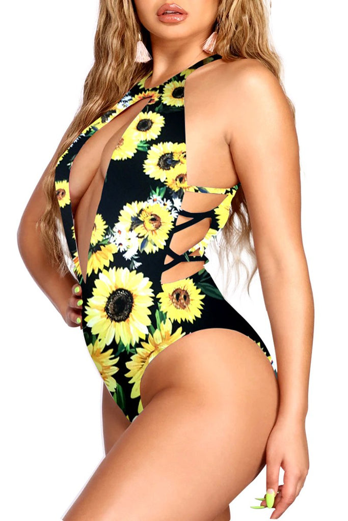 Hollow Out Bandage Print One Piece Swimwear