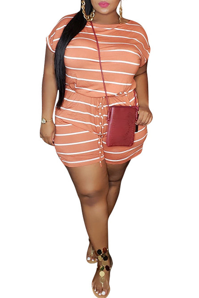 Plus Size Stripe Print Hollow Out Romper