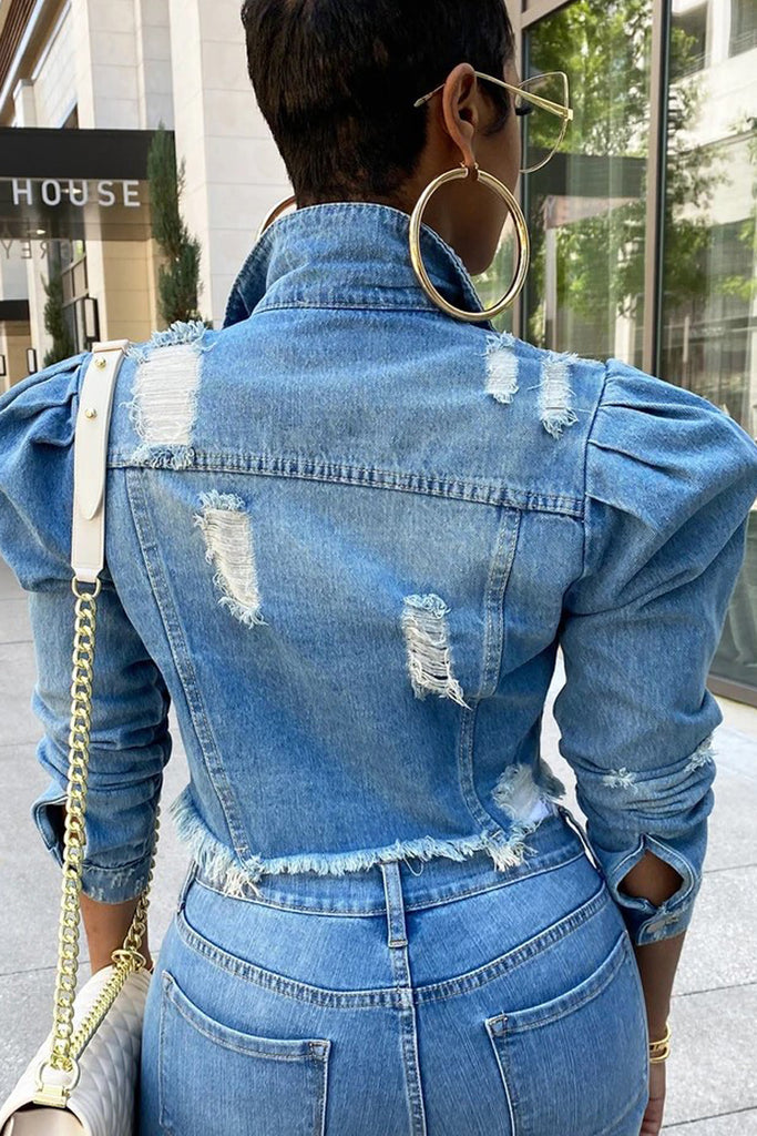 Distressed Puff Sleeve Denim Plus Size Jacket