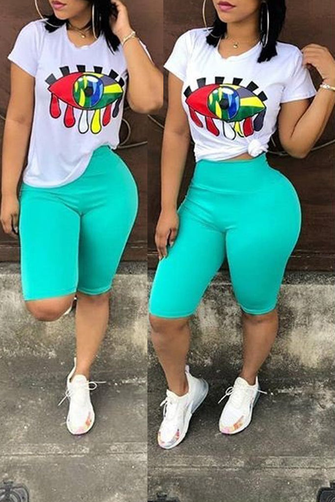 Offset Printing Short Sleeve Two Piece Sets