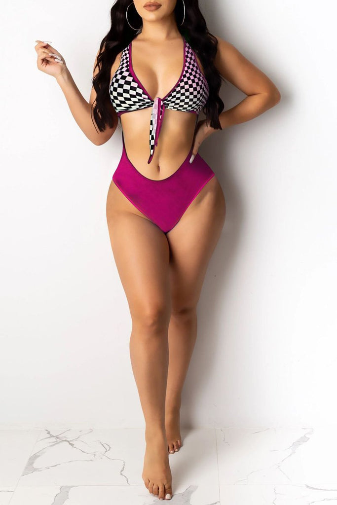 Digital Print Lace-up One Piece Swimwear