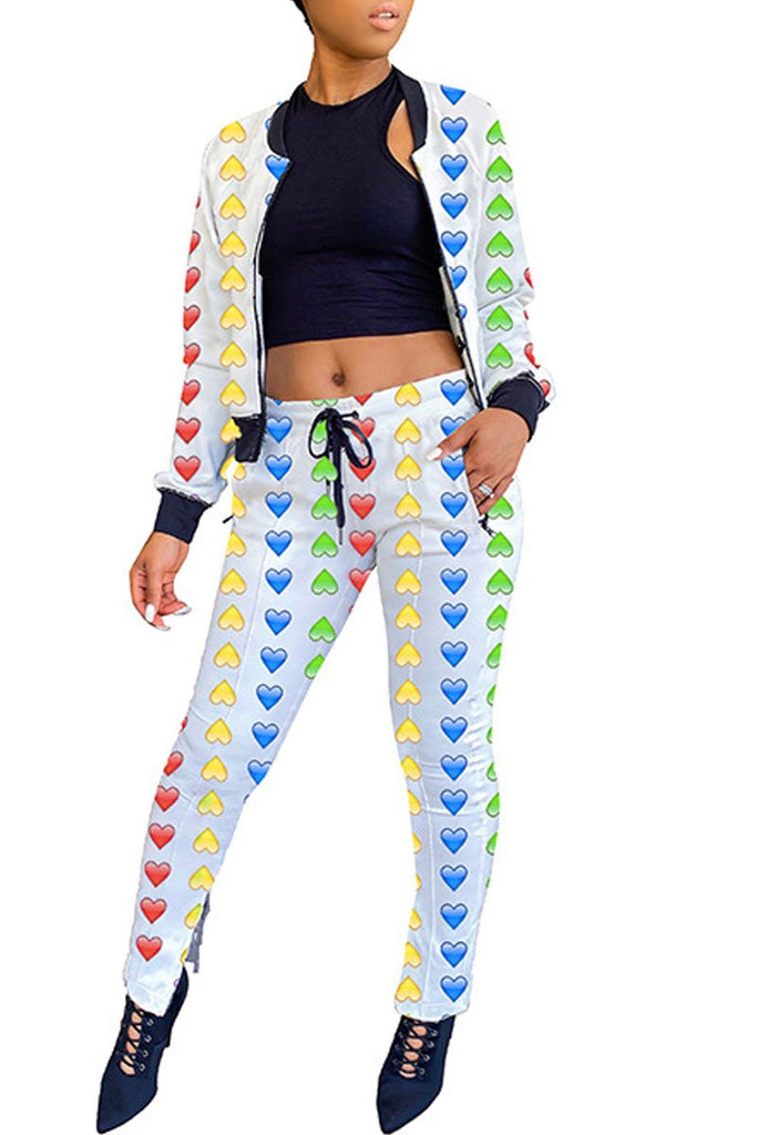 Love Printing Zipper Collar Drawstring Waist Top & Pants