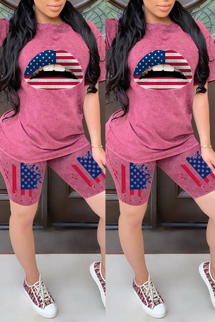 American Flag Print Lip Plus Size Two Piece Sets