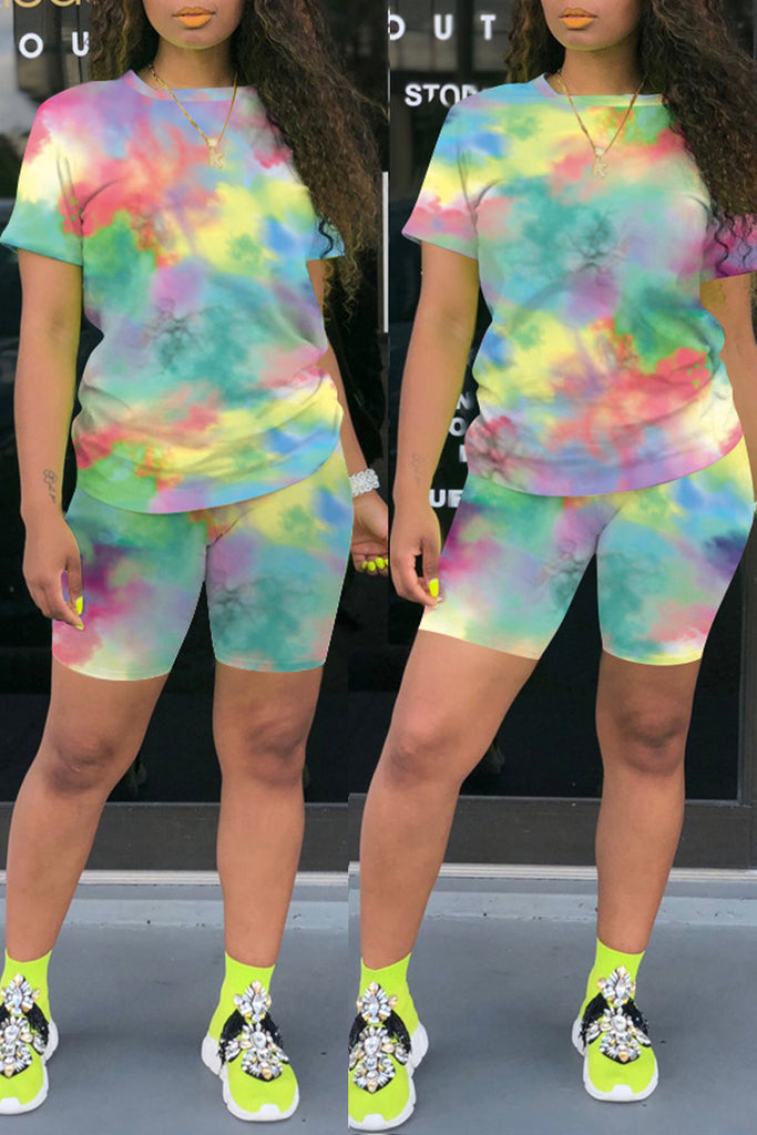 Plus Size Tie Dye Striped Colorful Top & Shorts