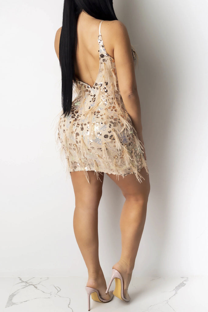 Sequin Deep V Neck Spaghetti Straps Dress