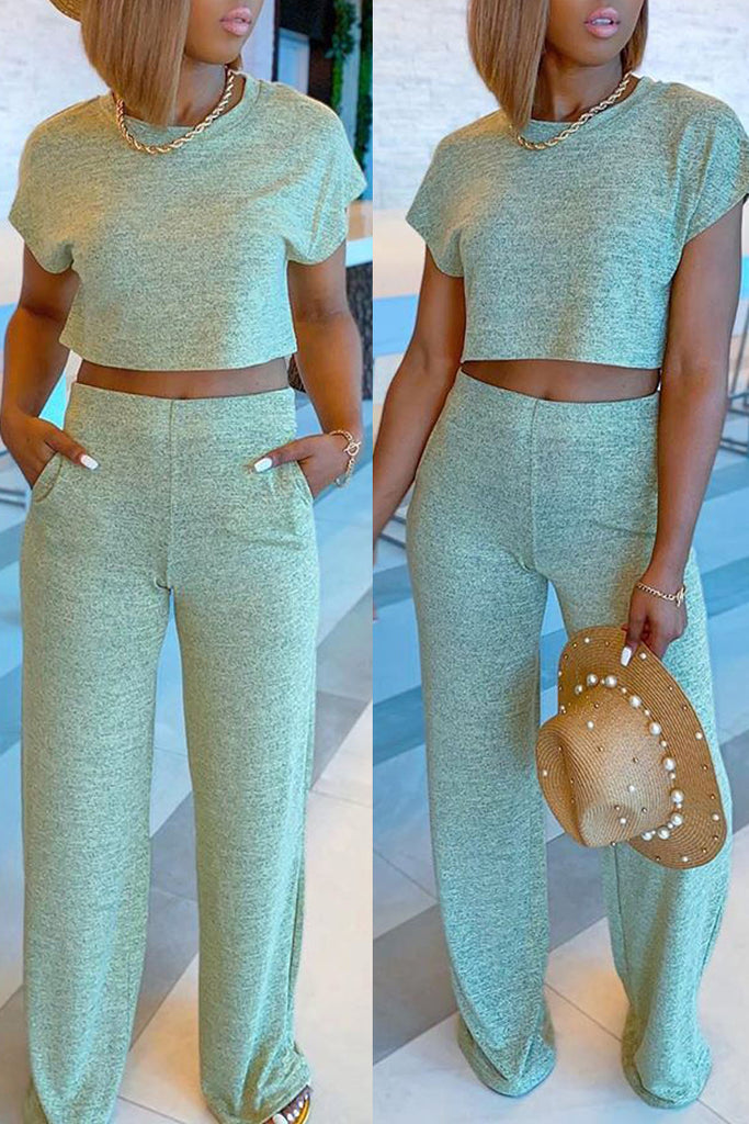 Solid Color Short Sleeve Two Piece Outfits