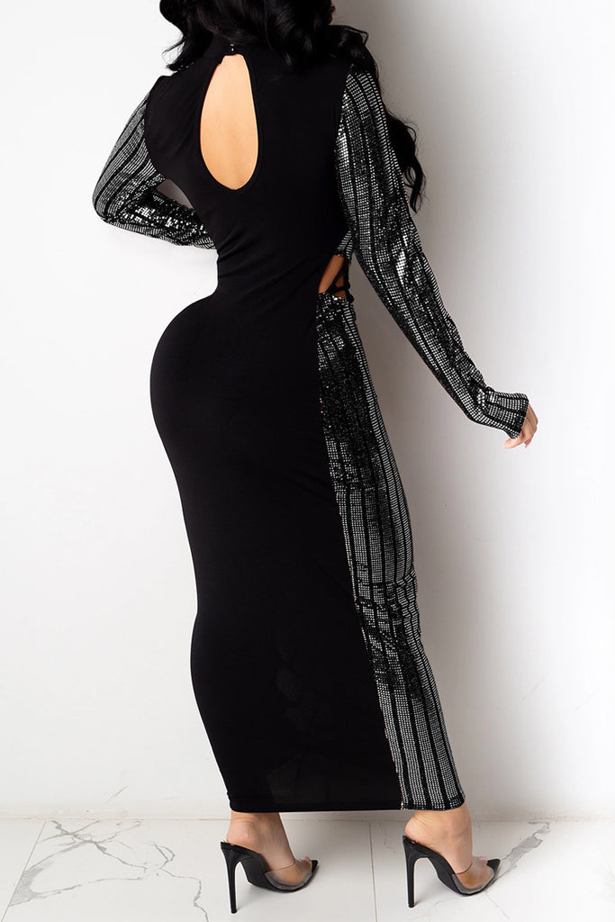Hollow Out Bandage Sequin Maxi Dress
