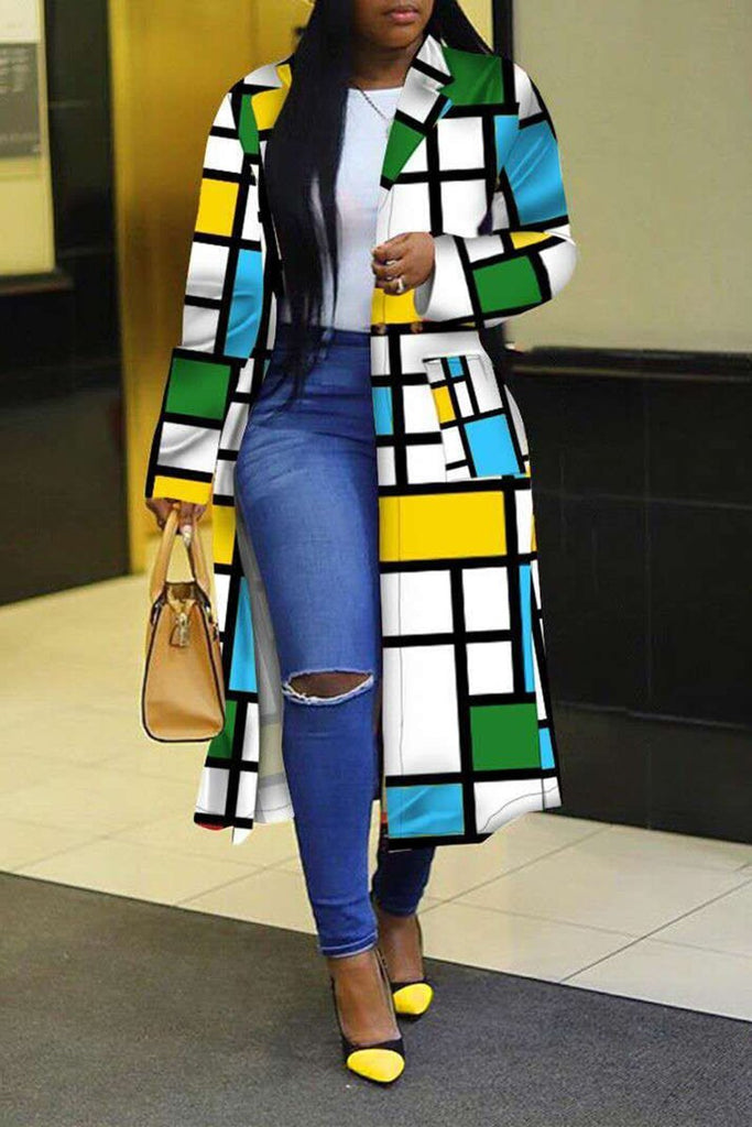 Wide Lapel Color Block Plus Size Coat