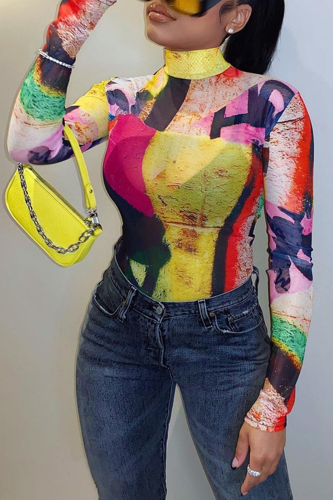 Tie Dye Color Block High Neck Top