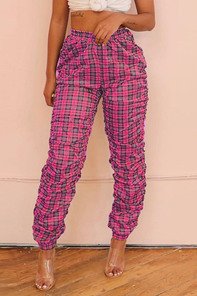 Wrinkled Plaid Print High Waist Pants