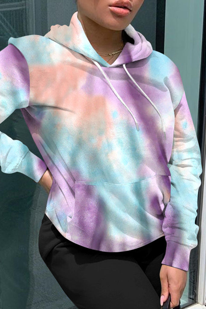Tie Dye Hooded Collar Pocket Hoodie