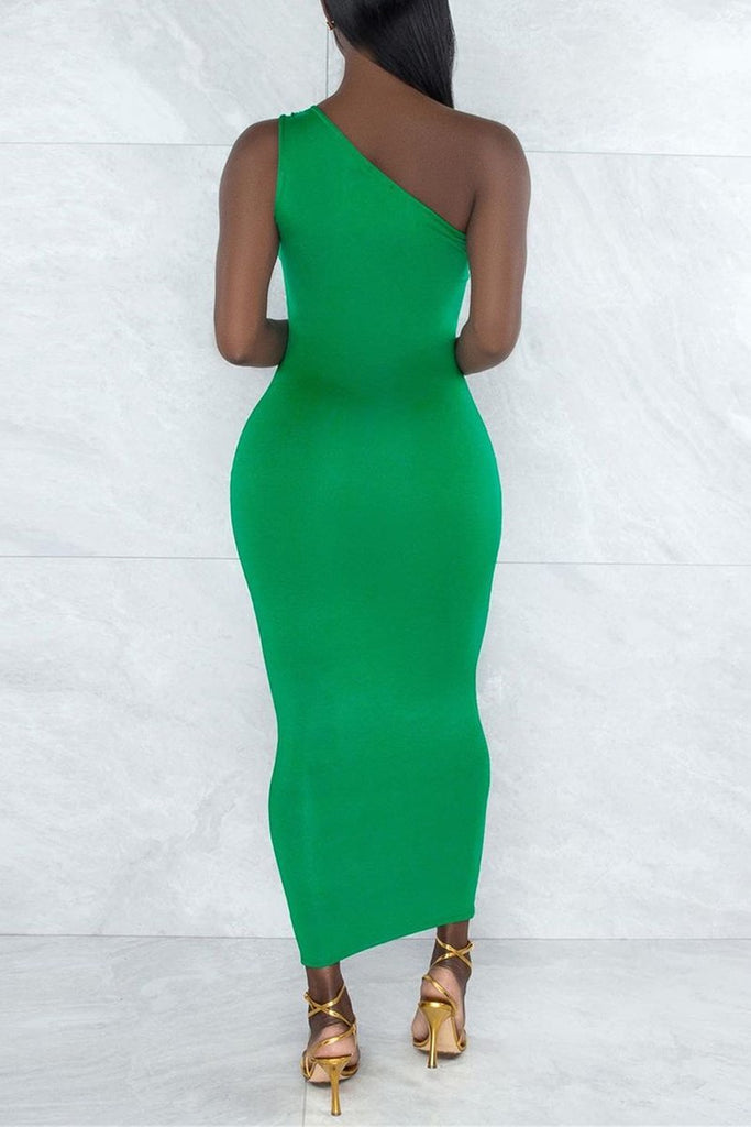Cutout Solid Color Irregular Bodycon Dress