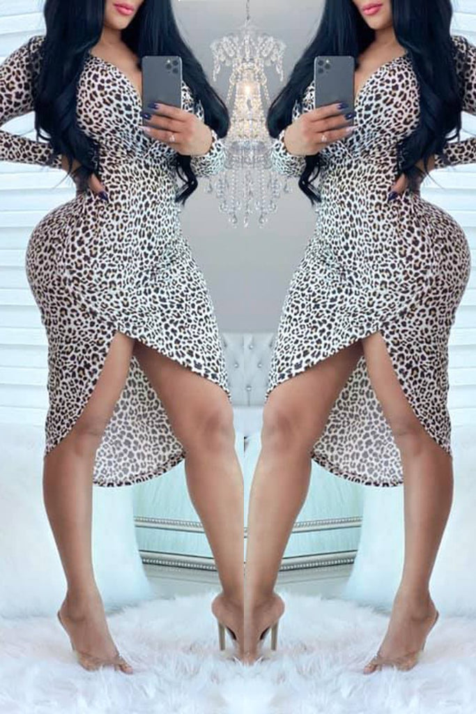 Leopard Print Irregular Hem Long Sleeve Dress