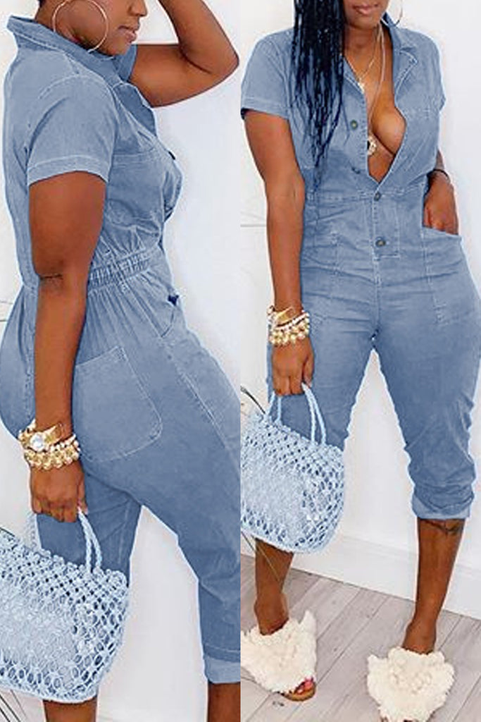 Denim Turndown Collar Elastic Waist Jumpsuit