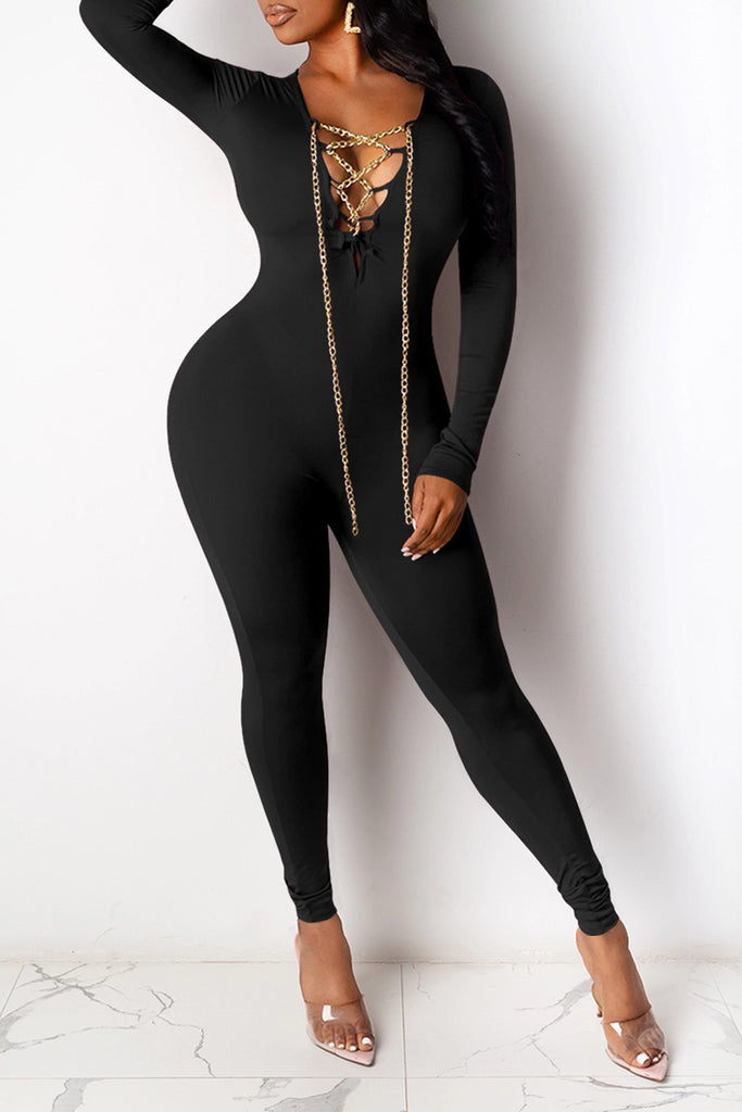 Bandage Chain Long Sleeve Jumpsuit