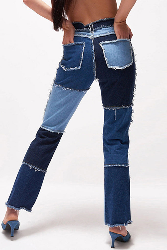 Patchwork Distressed High Waist Jeans