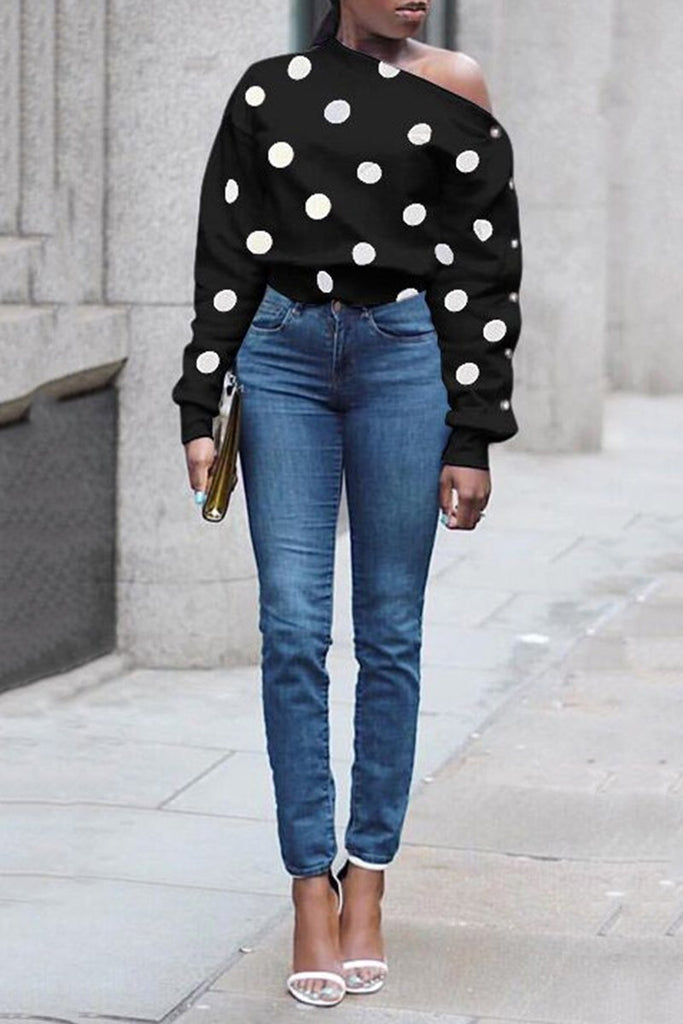 Skew Neck Polka Dot Casual Sweatshirt